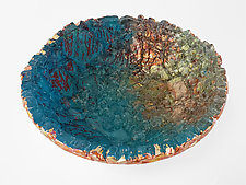 Blue with Red Streaks on Copper Bowl by Mira Woodworth (Art Glass Bowl)