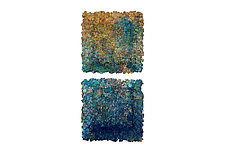 Blue Diptych Wall Installation by Mira Woodworth (Art Glass Wall Sculpture)