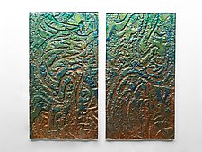 Copper Estuary Diptych Set by Mira Woodworth (Art Glass Wall Sculpture)