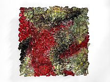 Landscape 29 in Red and Black by Mira Woodworth (Art Glass Wall Sculpture)