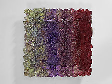 Landscape 28 in Cherry and Grape by Mira Woodworth (Art Glass Wall Sculpture)