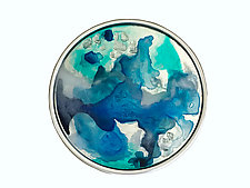 Silver, Blue, and Teal Portal by Mira Woodworth (Art Glass Wall Sculpture)