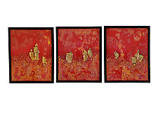 Brilliant Red Mounted Glass Triptych by Mira Woodworth (Art Glass Wall Sculpture)