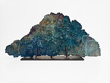Dreamscape 122, Teal and Plum by Mira Woodworth (Art Glass Sculpture)