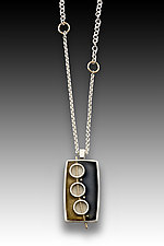 Three Circle Rec Pendant by Eileen Sutton (Gold, Silver & Resin Necklace)