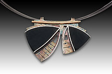 2 Leaf Necklace by Eileen Sutton (Gold, Silver & Resin Necklace)