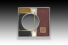 PS Square Pin/Pendant by Eileen Sutton (Gold, Silver & Resin Pin)