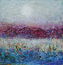 Misty Moonrise by Lori Austill (Encaustic Painting)