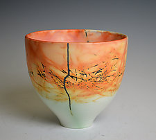 Small Peachy Eggshell Bowl by Judith  Motzkin (Ceramic Bowl)