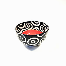 Small Round Bowl in Coral with Donut Pattern by Matthew A. Yanchuk (Ceramic Bowl)