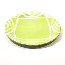 Large Round Dinner Plate in Bright Green Color Pattern by Matthew A. Yanchuk (Ceramic Dinnerware)