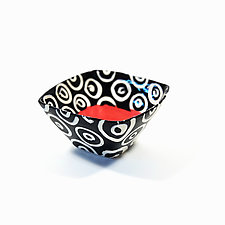 Small Square Bowl in Coral with Donut Pattern by Matthew A. Yanchuk (Ceramic Bowl)