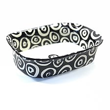 Large Rectangle Serving Bowl in Black and White with Donut Pattern by Matthew A. Yanchuk (Ceramic Bowl)