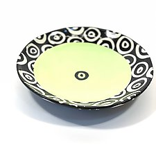 Large Disc Plate in Bright Green with Donut Pattern by Matthew A. Yanchuk (Ceramic Dinnerware)