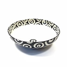 Medium Round Serving Bowl in Black and White with Donut Pattern by Matthew A. Yanchuk (Ceramic Bowl)