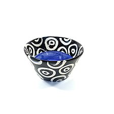 Small Flared Bowl in Blue with Donut Pattern by Matthew A. Yanchuk (Ceramic Bowl)