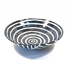 Large Disk Serving Bowl in Black, White, and Blue Blush with a Dazzle Pattern by Matthew A. Yanchuk (Ceramic Bowl)