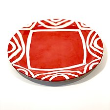 Large Round Dinner Plate in Coral Color Pattern by Matthew A. Yanchuk (Ceramic Dinnerware)
