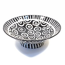 Large Pedestal Bowl in Black and White with Donut Pattern by Matthew A. Yanchuk (Ceramic Bowl)