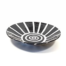 Low Serving Bowl in Black and White with Stripe Pattern by Matthew A. Yanchuk (Ceramic Bowl)