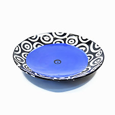 Large Disc Plate in Blue with Donut Pattern by Matthew A. Yanchuk (Ceramic Dinnerware)