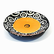 Large Disk Plate in Orange with Donut Pattern by Matthew A. Yanchuk (Ceramic Dinnerware)