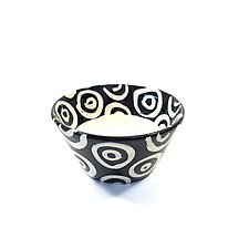 Small Flared Bowl in Black and White with Donut Pattern by Matthew A. Yanchuk (Ceramic Bowl)