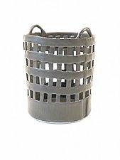 Lattice Basket in Gray by Matthew A. Yanchuk (Ceramic Basket)