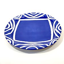 Large Round Dinner Plate in Blue Color Pattern by Matthew A. Yanchuk (Ceramic Dinnerware)
