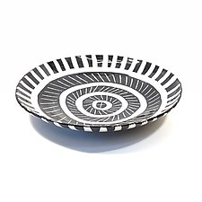Large Disc Plate in Black and White with Sgraffito Pattern by Matthew A. Yanchuk (Ceramic Dinnerware)