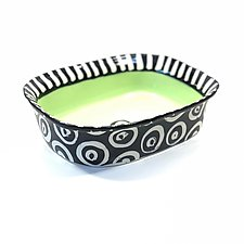 Large Rectangle Serving Bowl in Bright Green with Stripes and Donut Pattern by Matthew A. Yanchuk (Ceramic Bowl)