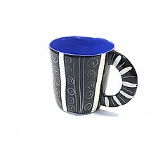 Large Mug in Blue with Sgraffito Design by Matthew A. Yanchuk (Ceramic Mug)