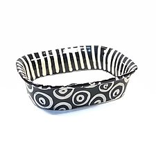 Large Rectangle Serving Bowl in Black and White with Stripes and Donut Pattern by Matthew A. Yanchuk (Ceramic Bowl)