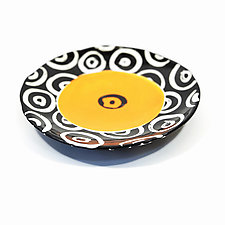 Medium Disk Plate in Orange with Donut Pattern by Matthew A. Yanchuk (Ceramic Dinnerware)