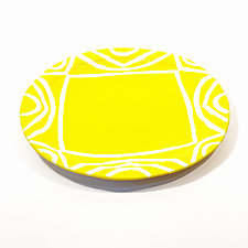 Large Round Dinner Plate in Yellow Color Pattern by Matthew A. Yanchuk (Ceramic Dinnerware)