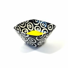 Small Square Bowl in Yellow with Donut Pattern by Matthew A. Yanchuk (Ceramic Bowl)