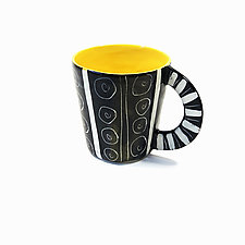 Large Mug in Yellow with Sgraffito Design by Matthew A. Yanchuk (Ceramic Mug)