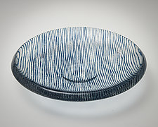 Blue Tuxedo Pinstripe by Carol Green (Art Glass Bowl)
