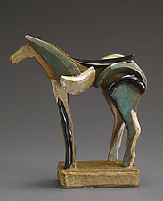 Tricolor Reduction Series, Blue Mane by Jeri Hollister (Ceramic Sculpture)