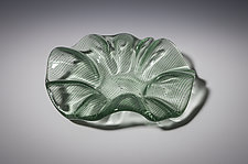 Green Ruffled Pinstripe Bowl by Carol Green (Art Glass Bowl)