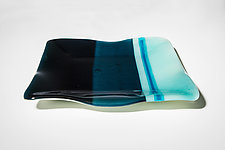 Blue Stripes by Carol Green (Art Glass Platter)
