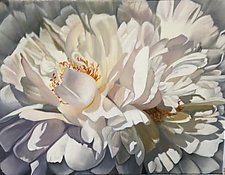 Full Blown White Peony by Barbara Buer (Oil Painting)