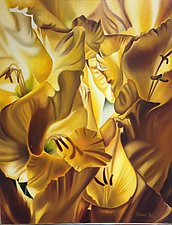 Golden Glads by Barbara Buer (Oil Painting)