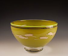 Green Bowl with Ginkgo Leaves by Richard S. Jones (Art Glass Bowl)