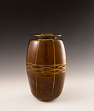 Carved Vase in Coffee and Yellow Green by Richard S. Jones (Art Glass Vase)