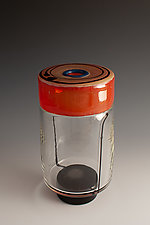 Enso Drum Encalmo in Red and Clear by Richard S. Jones (Art Glass Vase)