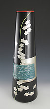 Waves and Flowers Vase by Richard S. Jones (Art Glass Vase)