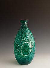 Carved Bottle Vase 14 by Richard S. Jones (Art Glass Vase)