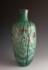 Carved Green Vase 3 by Richard S. Jones (Art Glass Vase)
