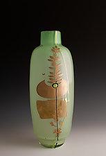 Jade Bottle with Silver Totem Design by Richard S. Jones (Art Glass Vase)